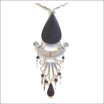 Peruvian Medallion Necklace with Obsidion